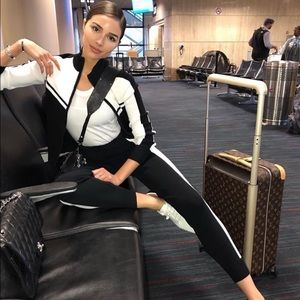 Express X Olivia Culpo Black and White Track Suit